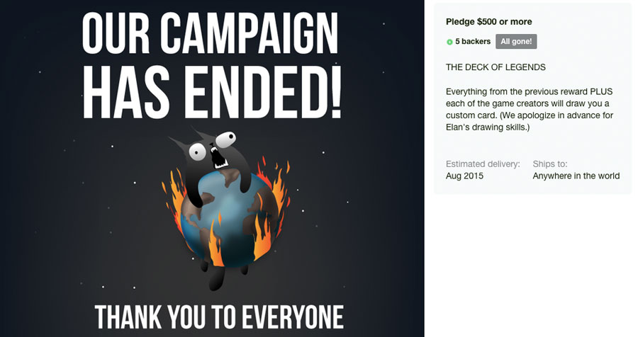 They didn't say anything about the backers, however The Oatmeal is (in)famous to design his readers as monsters.