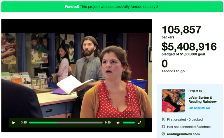 Ok the shock looks staged, still the video is funny. (Image source: Reading Rainbow Kickstarter page)